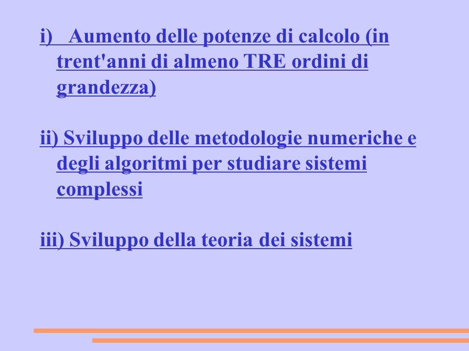i) Aumento delle potenze di calcolo (in trent'anni di almeno TRE ordini di grandezza) ii) Sviluppo delle metodologie numeriche e degli algoritmi per s