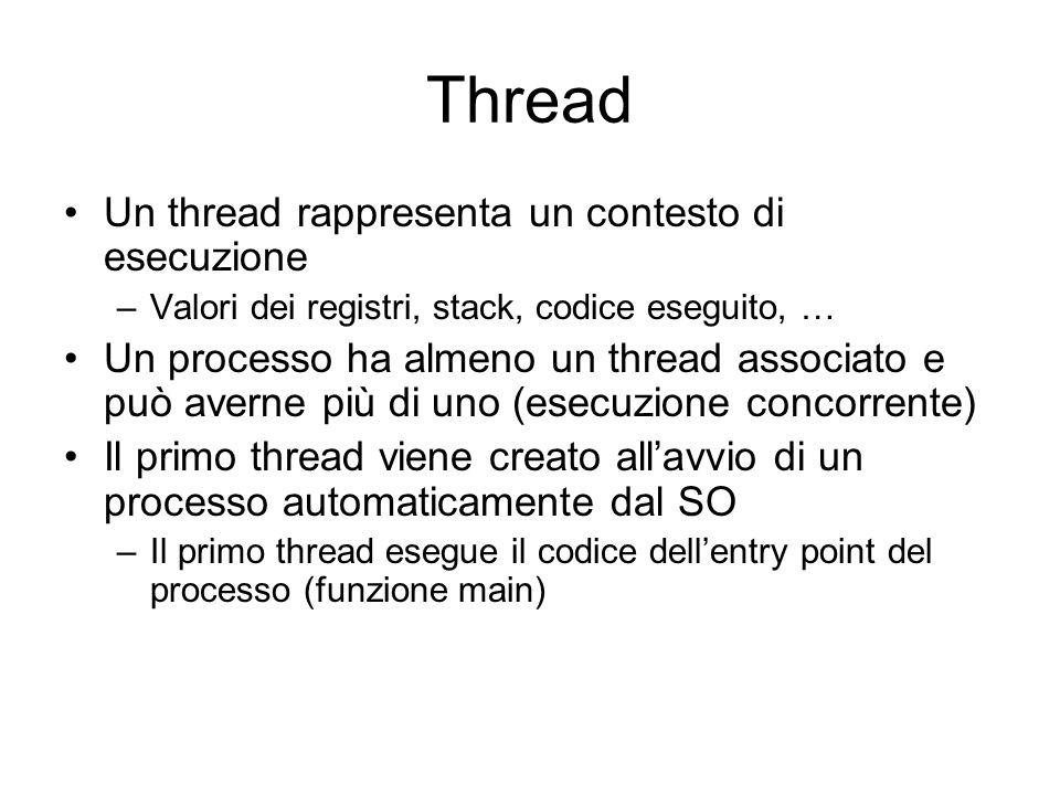 Thread Un thread rappresenta un contesto di esecuzione –Valori dei registri, stack, codice eseguito, … Un processo ha almeno un thread associato e può averne più di uno (esecuzione concorrente) Il primo thread viene creato allavvio di un processo automaticamente dal SO –Il primo thread esegue il codice dellentry point del processo (funzione main)