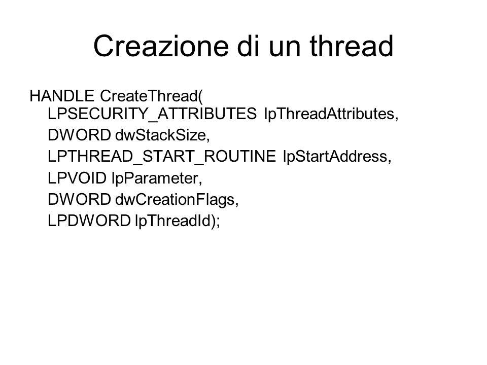 Creazione di un thread HANDLE CreateThread( LPSECURITY_ATTRIBUTES lpThreadAttributes, DWORD dwStackSize, LPTHREAD_START_ROUTINE lpStartAddress, LPVOID