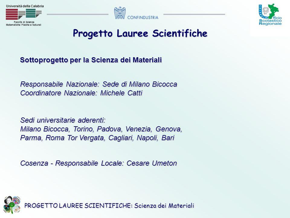 PROGETTO LAUREE SCIENTIFICHE: Scienza dei Materiali Facoltà di Scienze Matematiche Fisiche e Naturali Università della Calabria Personale UNICAL coinvolto nel progetto Responsabile attività Laboratorio: Dr.