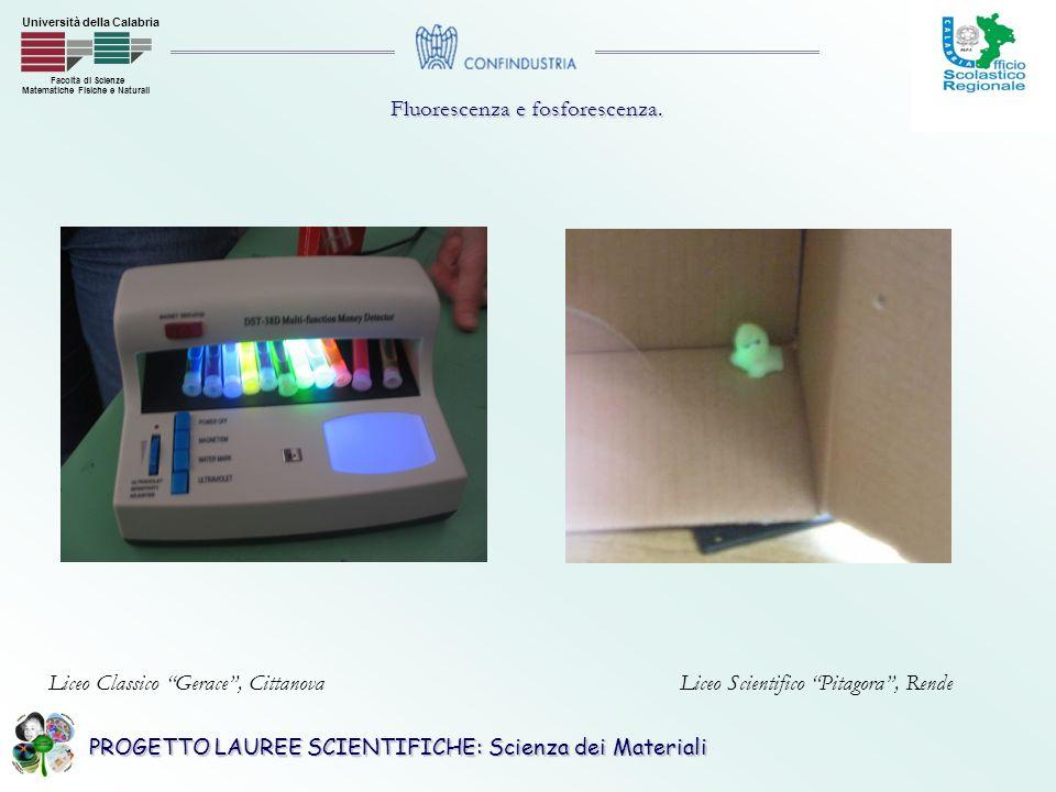 PROGETTO LAUREE SCIENTIFICHE: Scienza dei Materiali Facoltà di Scienze Matematiche Fisiche e Naturali Università della Calabria Fluorescenza e fosforescenza.