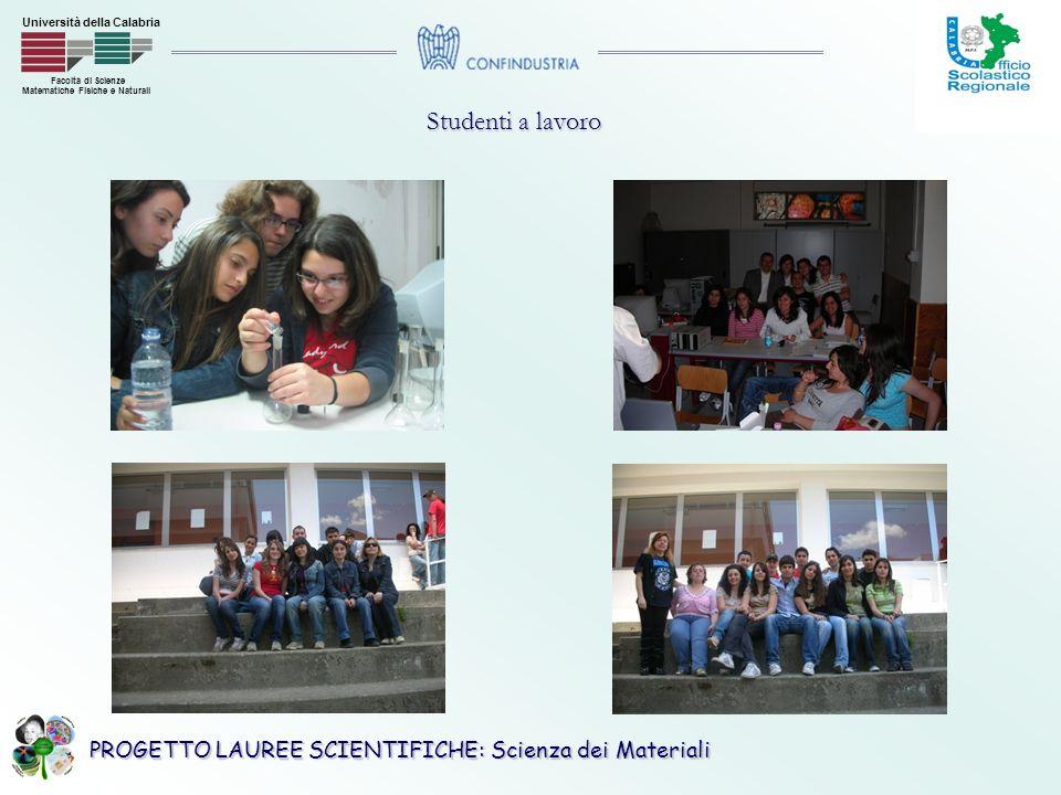 PROGETTO LAUREE SCIENTIFICHE: Scienza dei Materiali Facoltà di Scienze Matematiche Fisiche e Naturali Università della Calabria Studenti a lavoro