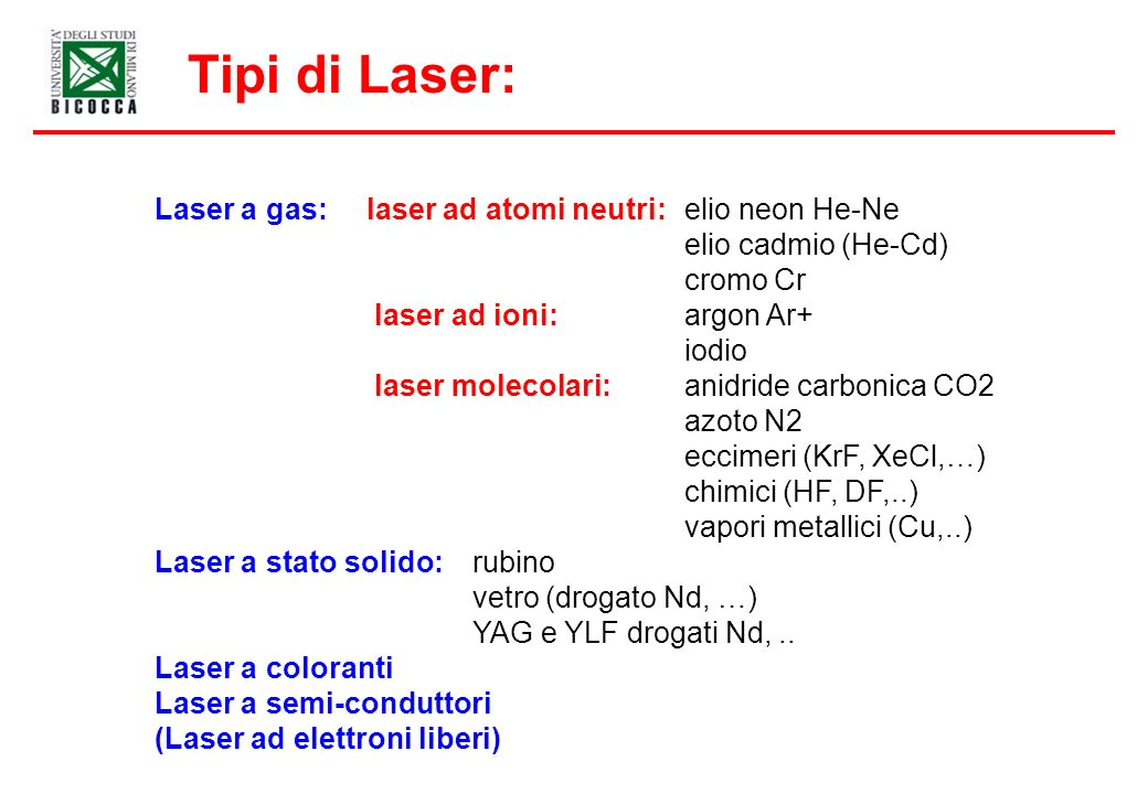Tipi di Laser: Laser a gas: laser ad atomi neutri: elio neon He-Ne elio cadmio (He-Cd) cromo Cr laser ad ioni: argon Ar+ iodio laser molecolari: anidride carbonica CO2 azoto N2 eccimeri (KrF, XeCl,…) chimici (HF, DF,..) vapori metallici (Cu,..) Laser a stato solido: rubino vetro (drogato Nd, …) YAG e YLF drogati Nd,..