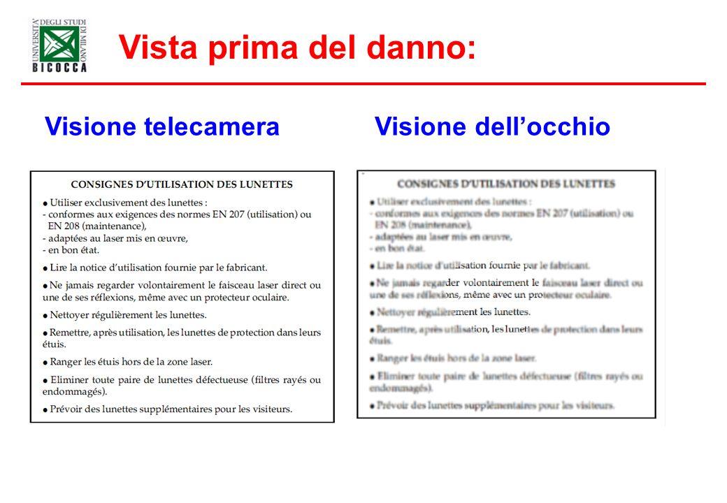 Vista prima del danno: Visione telecamera Visione dellocchio