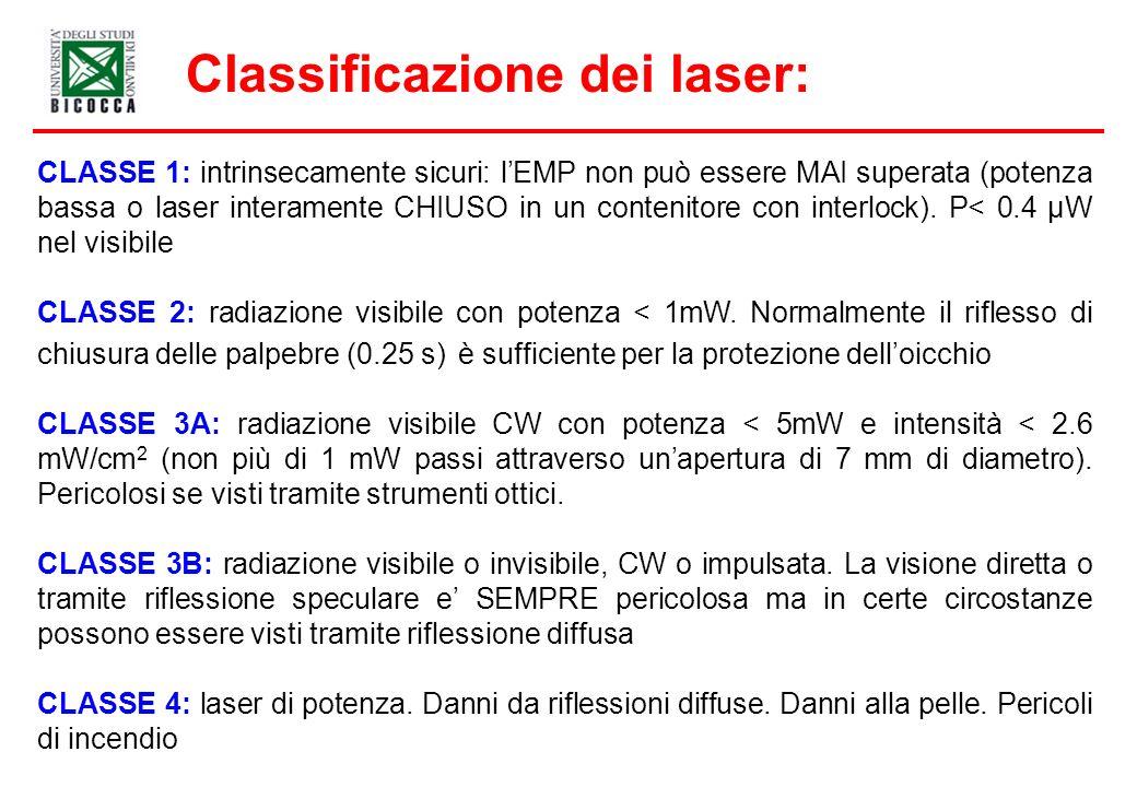 Classificazione dei laser: CLASSE 1: intrinsecamente sicuri: lEMP non può essere MAI superata (potenza bassa o laser interamente CHIUSO in un contenitore con interlock).