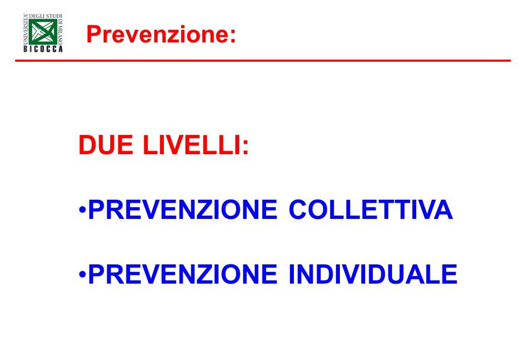 Prevenzione: DUE LIVELLI: PREVENZIONE COLLETTIVA PREVENZIONE INDIVIDUALE