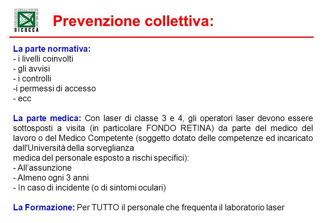 Prevenzione collettiva: La parte normativa: - i livelli coinvolti - gli avvisi - i controlli -i permessi di accesso - ecc La parte medica: Con laser d