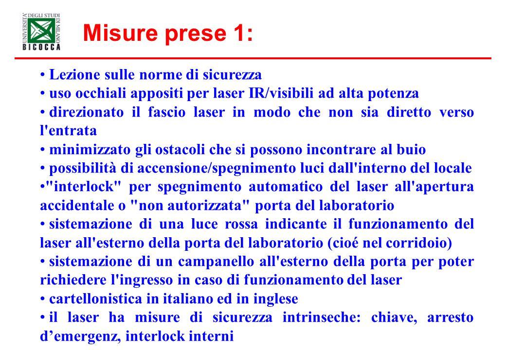 Misure prese 1: Lezione sulle norme di sicurezza uso occhiali appositi per laser IR/visibili ad alta potenza direzionato il fascio laser in modo che n