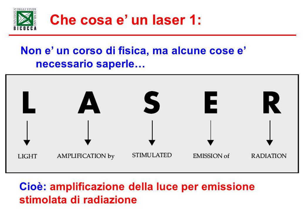 Non e un corso di fisica, ma alcune cose e necessario saperle… Che cosa e un laser 1: Cioè: amplificazione della luce per emissione stimolata di radiazione
