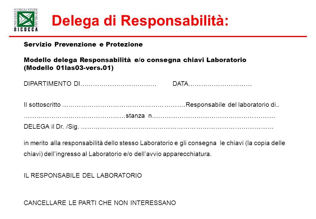 Servizio Prevenzione e Protezione Modello delega Responsabilità e/o consegna chiavi Laboratorio (Modello 01las03-vers.01) DIPARTIMENTO DI……………………………… DATA………………………… Il sottoscritto ………………………………………………….Responsabile del laboratorio di..