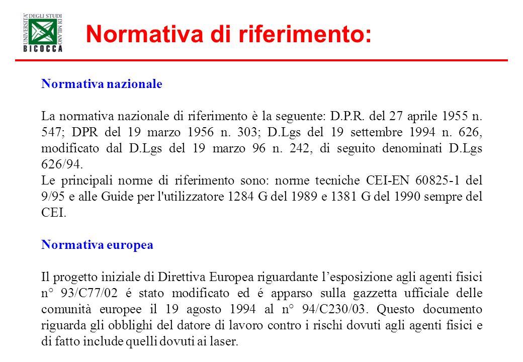 Normativa di riferimento: Normativa nazionale La normativa nazionale di riferimento è la seguente: D.P.R. del 27 aprile 1955 n. 547; DPR del 19 marzo