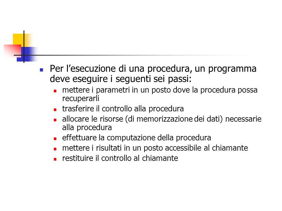 Per lesecuzione di una procedura, un programma deve eseguire i seguenti sei passi: mettere i parametri in un posto dove la procedura possa recuperarli trasferire il controllo alla procedura allocare le risorse (di memorizzazione dei dati) necessarie alla procedura effettuare la computazione della procedura mettere i risultati in un posto accessibile al chiamante restituire il controllo al chiamante