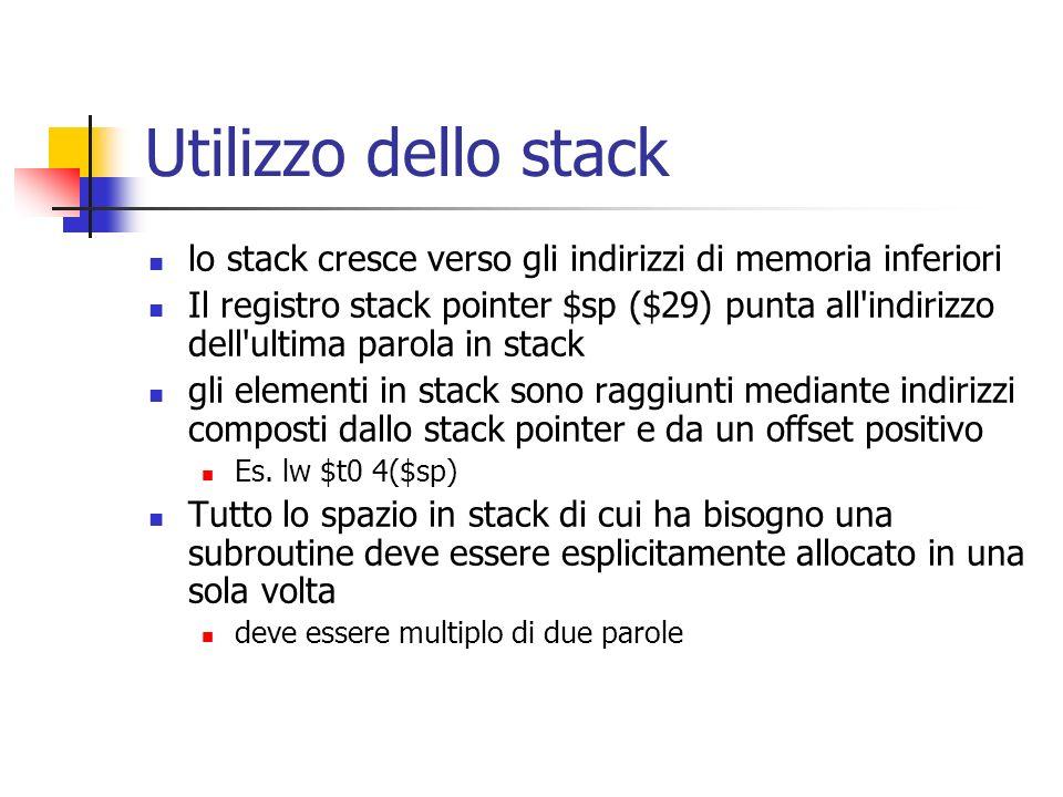 Utilizzo dello stack lo stack cresce verso gli indirizzi di memoria inferiori Il registro stack pointer $sp ($29) punta all indirizzo dell ultima parola in stack gli elementi in stack sono raggiunti mediante indirizzi composti dallo stack pointer e da un offset positivo Es.
