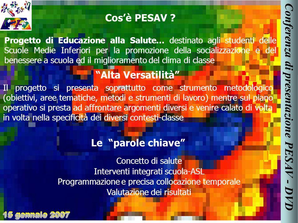 Progetto di Educazione alla Salute… destinato agli studenti delle Scuole Medie Inferiori per la promozione della socializzazione e del benessere a scuola ed il miglioramento del clima di classe Cosè PESAV .