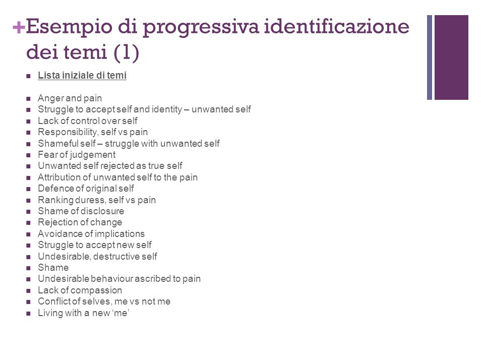 + Lista iniziale di temi Anger and pain Struggle to accept self and identity – unwanted self Lack of control over self Responsibility, self vs pain Sh