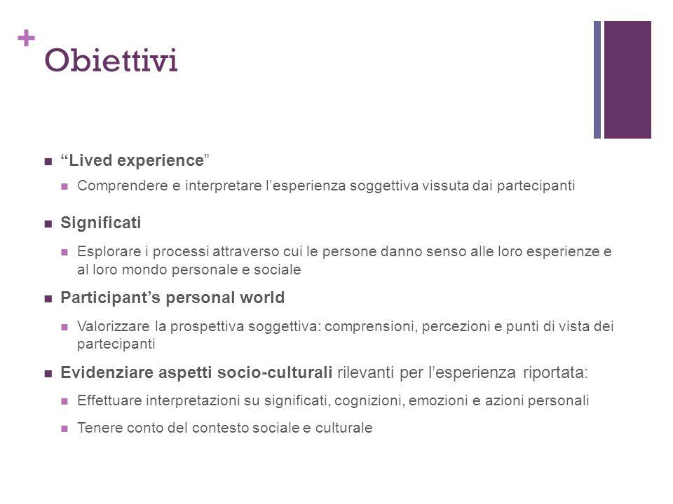 + Obiettivi Lived experience Comprendere e interpretare lesperienza soggettiva vissuta dai partecipanti Significati Esplorare i processi attraverso cu