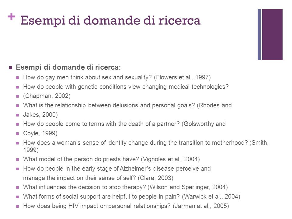 + Esempi di domande di ricerca Esempi di domande di ricerca: How do gay men think about sex and sexuality? (Flowers et al., 1997) How do people with g