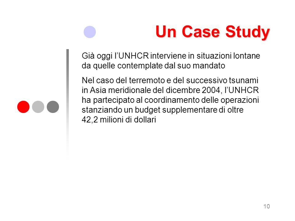 10 Un Case Study Già oggi lUNHCR interviene in situazioni lontane da quelle contemplate dal suo mandato Nel caso del terremoto e del successivo tsunam
