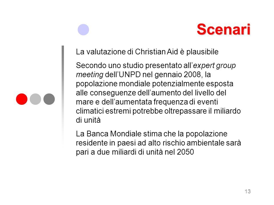 13 Scenari La valutazione di Christian Aid è plausibile Secondo uno studio presentato allexpert group meeting dellUNPD nel gennaio 2008, la popolazion