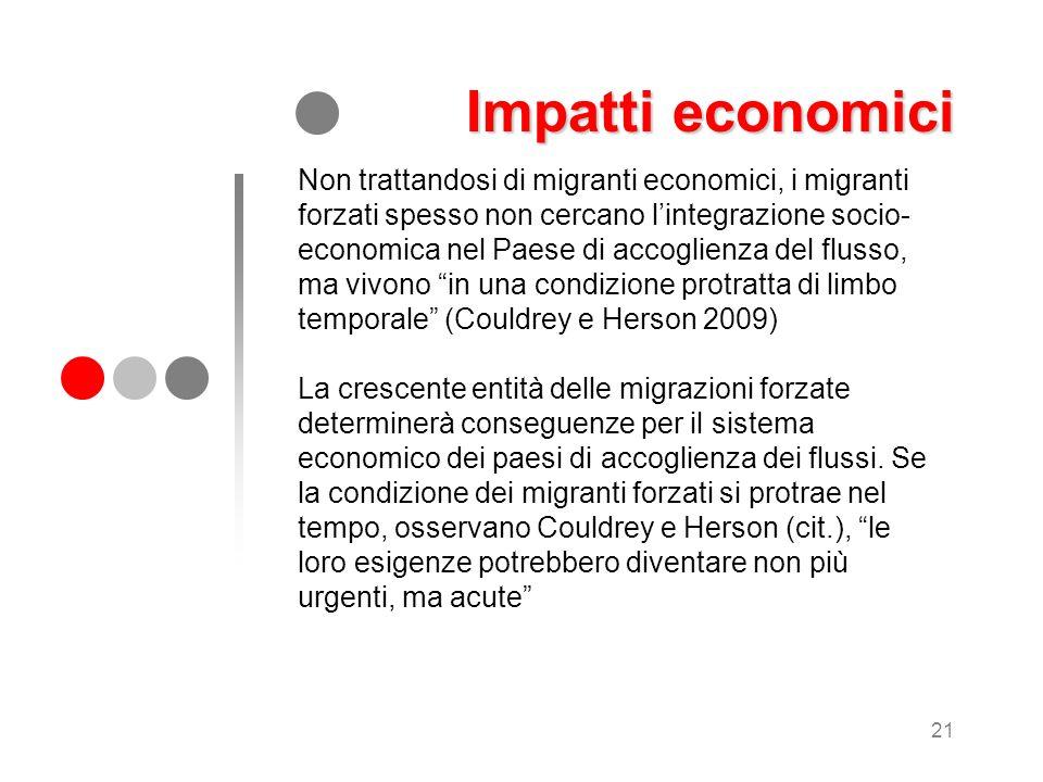 21 Non trattandosi di migranti economici, i migranti forzati spesso non cercano lintegrazione socio- economica nel Paese di accoglienza del flusso, ma