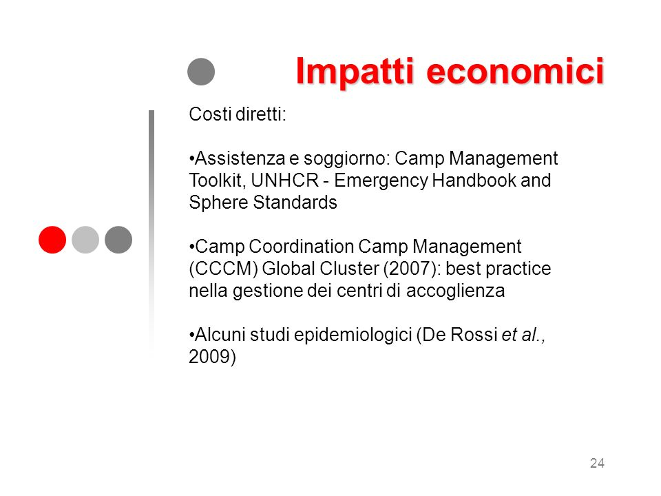 24 Costi diretti: Assistenza e soggiorno: Camp Management Toolkit, UNHCR - Emergency Handbook and Sphere Standards Camp Coordination Camp Management (
