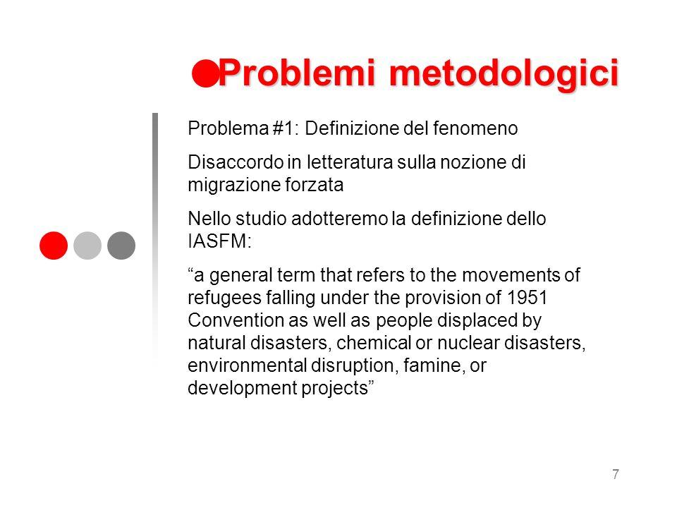 7 Problemi metodologici Problema #1: Definizione del fenomeno Disaccordo in letteratura sulla nozione di migrazione forzata Nello studio adotteremo la