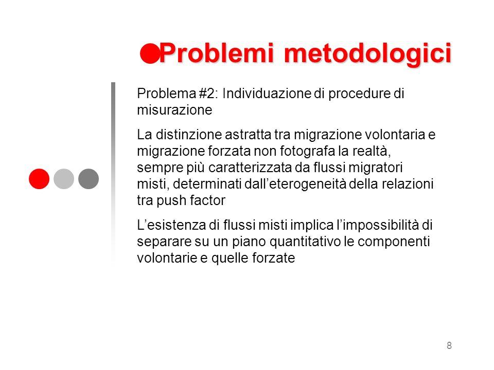 8 Problemi metodologici Problema #2: Individuazione di procedure di misurazione La distinzione astratta tra migrazione volontaria e migrazione forzata