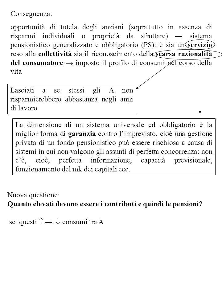 Conseguenza: opportunità di tutela degli anziani (soprattutto in assenza di risparmi individuali o proprietà da sfruttare) sistema pensionistico gener