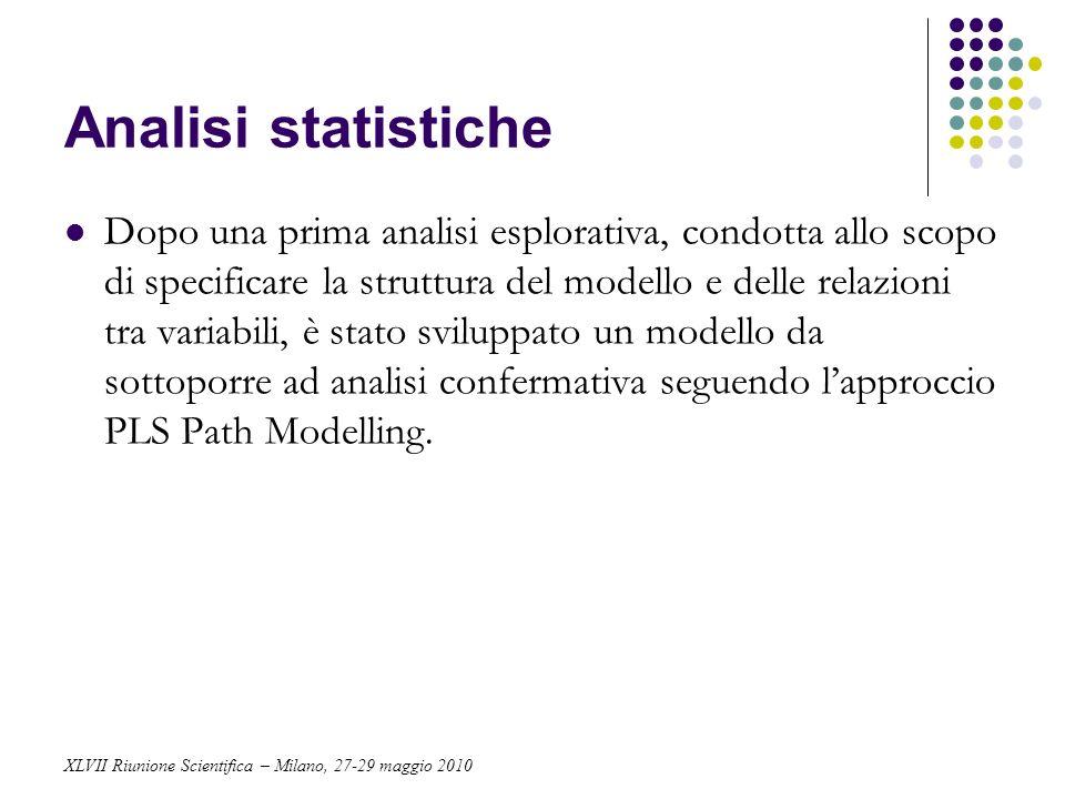 Analisi statistiche Dopo una prima analisi esplorativa, condotta allo scopo di specificare la struttura del modello e delle relazioni tra variabili, è