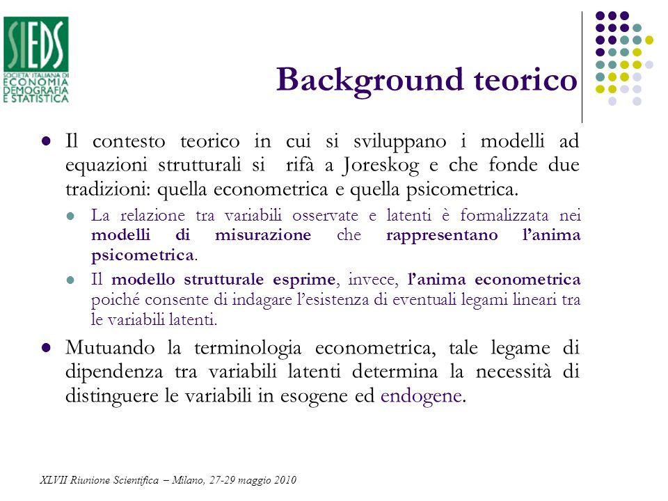 Background teorico Il contesto teorico in cui si sviluppano i modelli ad equazioni strutturali si rifà a Joreskog e che fonde due tradizioni: quella e
