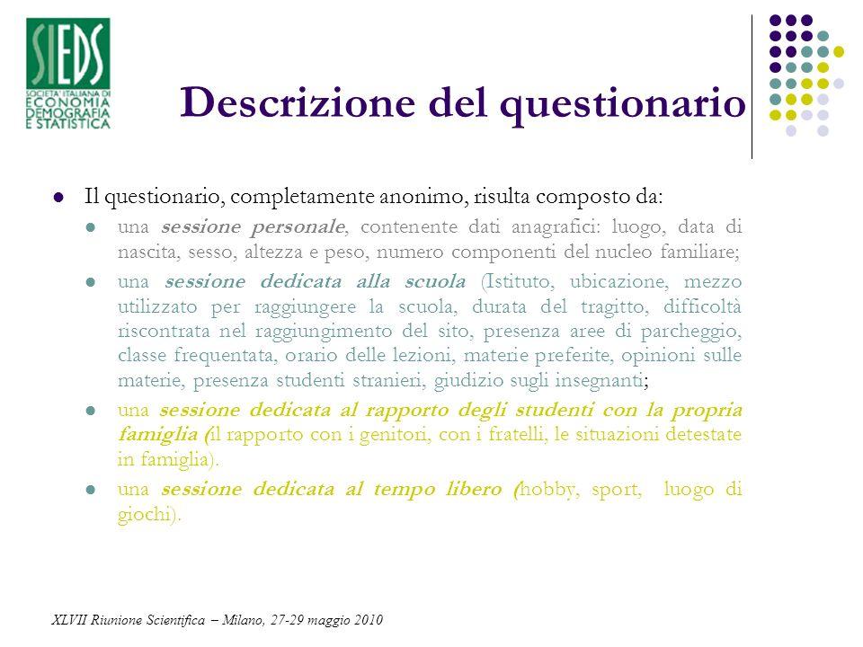 Descrizione del questionario Il questionario, completamente anonimo, risulta composto da: una sessione personale, contenente dati anagrafici: luogo, d
