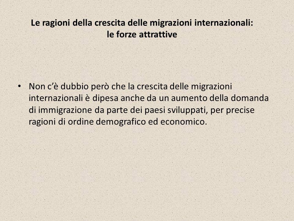 Le ragioni della crescita delle migrazioni internazionali: le forze attrattive Non cè dubbio però che la crescita delle migrazioni internazionali è di