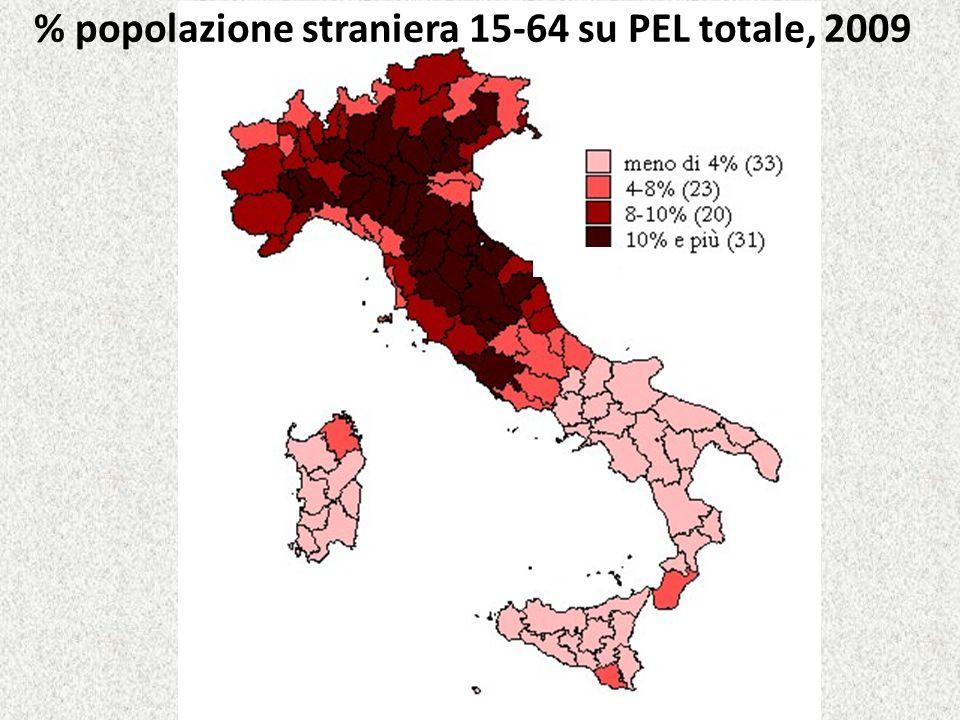 % popolazione straniera 15-64 su PEL totale, 2009