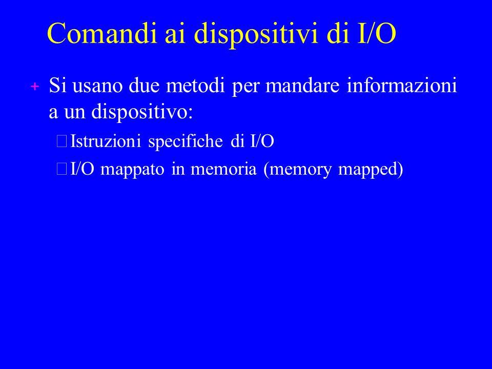 Comandi ai dispositivi di I/O + Si usano due metodi per mandare informazioni a un dispositivo: –Istruzioni specifiche di I/O –I/O mappato in memoria (memory mapped)