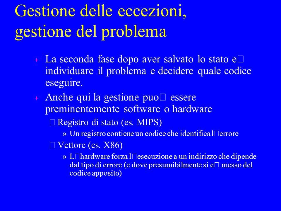 Gestione delle eccezioni, gestione del problema La seconda fase dopo aver salvato lo stato e ' individuare il problema e decidere quale codice eseguire.