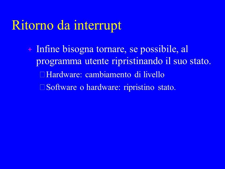 Ritorno da interrupt + Infine bisogna tornare, se possibile, al programma utente ripristinando il suo stato.