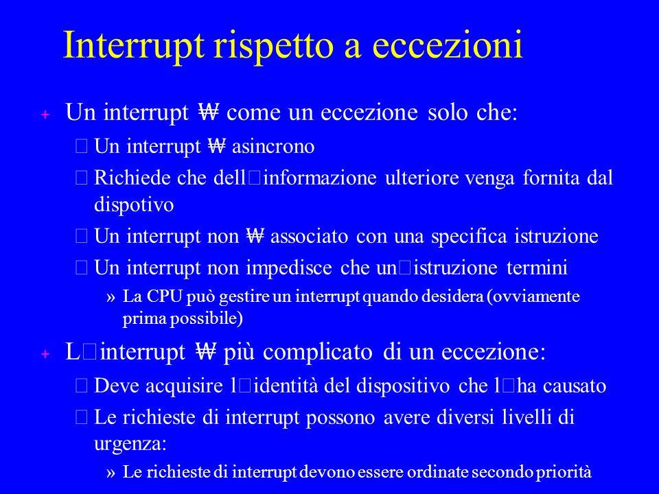 Interrupt rispetto a eccezioni + Un interrupt come un eccezione solo che: – Un interrupt asincrono Richiede che dell ' informazione ulteriore venga fornita dal dispotivo – Un interrupt non associato con una specifica istruzione Un interrupt non impedisce che un ' istruzione termini » La CPU può gestire un interrupt quando desidera (ovviamente prima possibile) L ' interrupt più complicato di un eccezione: Deve acquisire l ' identità del dispositivo che l ' ha causato – Le richieste di interrupt possono avere diversi livelli di urgenza: » Le richieste di interrupt devono essere ordinate secondo priorità