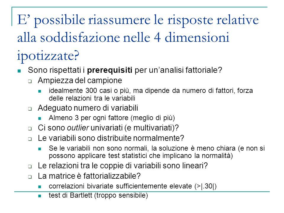 Lanalisi fattoriale Analizza Riduzione dimensione Fattoriale