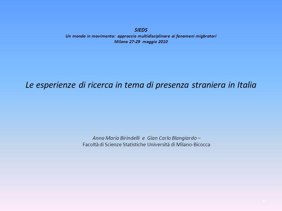 Indicatori socio-demografici relativi alla popolazione straniera ultraquattordicenne presente al 1° luglio 2005 1.000 1.000 1.000 * Con laurea %* Celibi (o nubili) * Cattolici / Senza titolo Uomini / Coniugati (-e)/ Musulmani Conseguito Riconosciuto Campania 48,9 803 9111.112 70 Puglia 58,7 709 587 450 54 Basilicata 51,6 771 277 214 64 Calabria 54,5 824 554 364 37 Sicilia 59,9 750 597 243 42 Sardegna 59,1 660 251 548 61 Mezzogiorno 55,4 768 626 497 54 Centro-nord 54,2 660 7841.495 79 Italia 54,3 670 7651.321 76 16 12