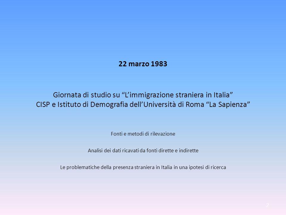 22 marzo 1983 Giornata di studio su Limmigrazione straniera in Italia CISP e Istituto di Demografia dellUniversità di Roma La Sapienza Fonti e metodi