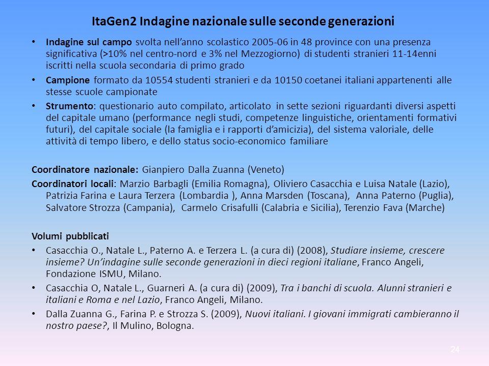 ItaGen2 Indagine nazionale sulle seconde generazioni Indagine sul campo svolta nellanno scolastico 2005-06 in 48 province con una presenza significati