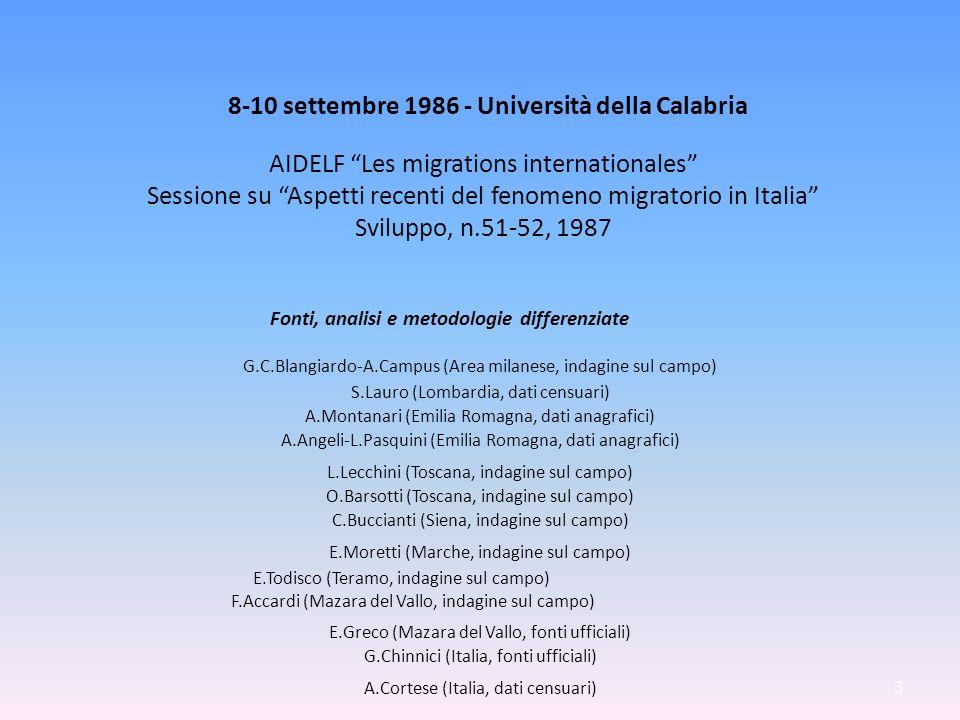 8-10 settembre 1986 - Università della Calabria AIDELF Les migrations internationales Sessione su Aspetti recenti del fenomeno migratorio in Italia Sv