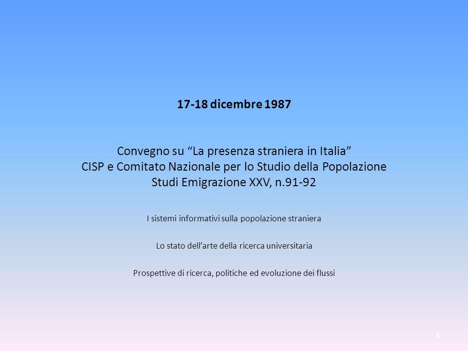 17-18 dicembre 1987 Convegno su La presenza straniera in Italia CISP e Comitato Nazionale per lo Studio della Popolazione Studi Emigrazione XXV, n.91-92 I sistemi informativi sulla popolazione straniera Lo stato dellarte della ricerca universitaria Prospettive di ricerca, politiche ed evoluzione dei flussi 4