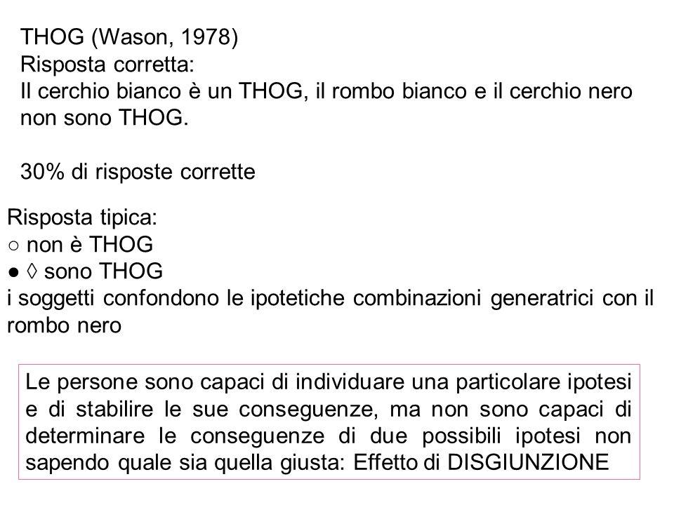 THOG (Wason, 1978) Risposta corretta: Il cerchio bianco è un THOG, il rombo bianco e il cerchio nero non sono THOG.