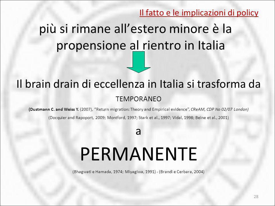 Il fatto e le implicazioni di policy più si rimane allestero minore è la propensione al rientro in Italia 28 Il brain drain di eccellenza in Italia si