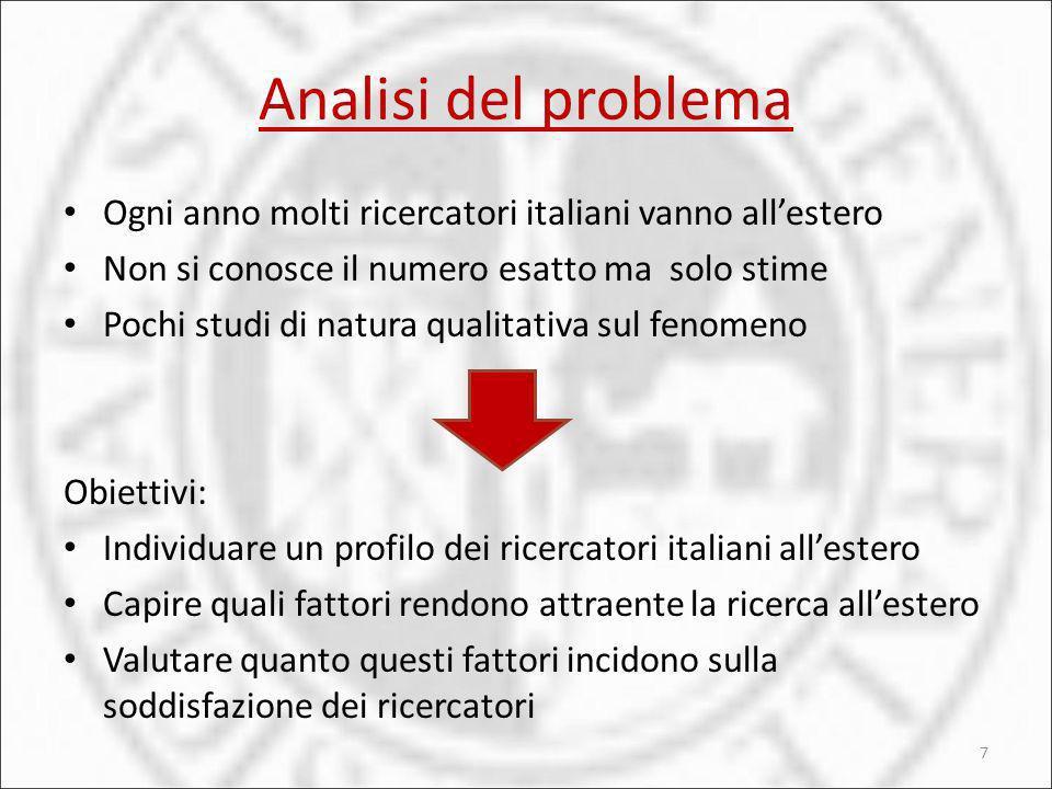 Analisi del problema Ogni anno molti ricercatori italiani vanno allestero Non si conosce il numero esatto ma solo stime Pochi studi di natura qualitat