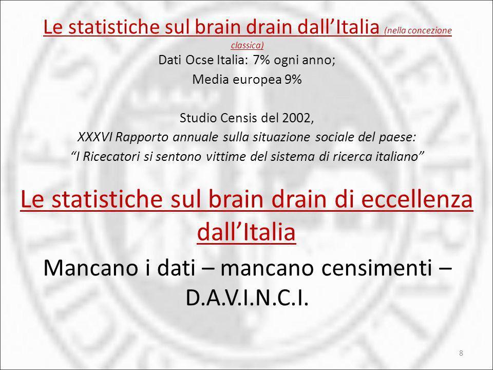 Le statistiche sul brain drain dallItalia (nella concezione classica) 8 Dati Ocse Italia: 7% ogni anno; Media europea 9% Studio Censis del 2002, XXXVI