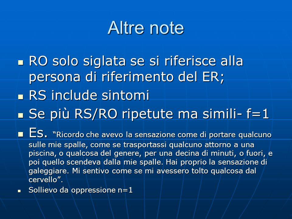 Altre note RO solo siglata se si riferisce alla persona di riferimento del ER; RO solo siglata se si riferisce alla persona di riferimento del ER; RS