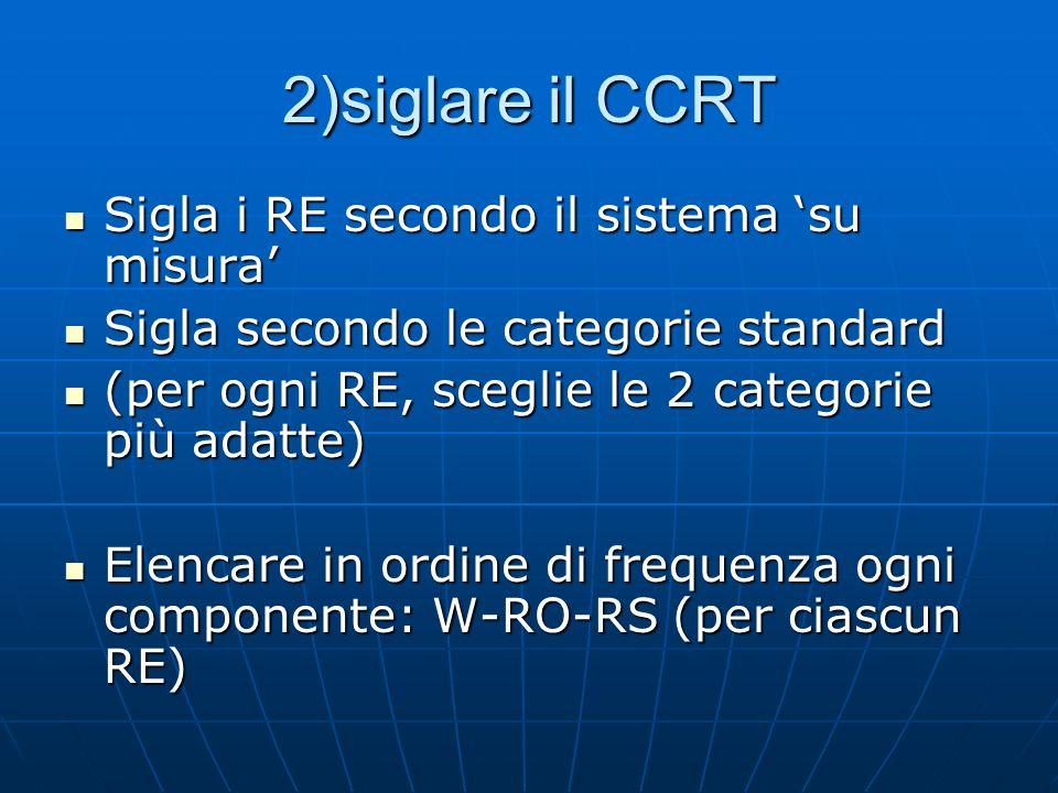 2)siglare il CCRT Sigla i RE secondo il sistema su misura Sigla i RE secondo il sistema su misura Sigla secondo le categorie standard Sigla secondo le