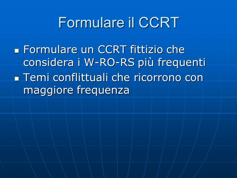 Formulare il CCRT Formulare un CCRT fittizio che considera i W-RO-RS più frequenti Formulare un CCRT fittizio che considera i W-RO-RS più frequenti Te